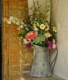 Vintage jug of August flowers. Strictly seasonal British eco wedding flowers by Common Farm in Somerset.