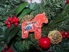 Norwegian Rosemaled Horse Ornament