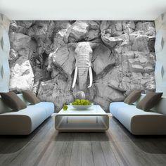 papier peint trompe l'oeil aux motifs éléphant qui sort du mur, poster geant aux motifs grandes roches pointues