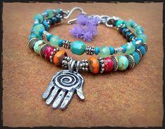 Healing HAND BRACELET Hamsa Hand bracelet FATIMA by GPyoga on Etsy, $53.00