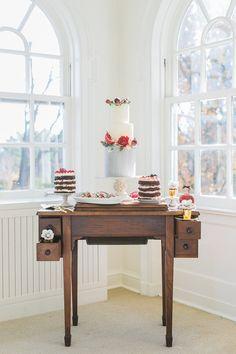 romantic cake table - photo by Rhythm Photography http://ruffledblog.com/historic-estate-engagement-inspiration