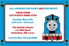 Thomas The Train Birthday Party Invitation by printablesboutique, $5.00