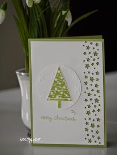 Stampin' Up!  ... handmade Christmas card from stampin with beemybear: Die erste Weihnachtskarte ... green and white ... like the use of many stars border punch  ...