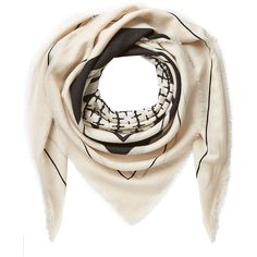 By Malene Birger Patterned Wool Scarf (1 520 ZAR) ❤ liked on Polyvore featuring accessories, scarves, beige, wool shawl, wool scarves, woolen shawl, patterned scarves and print scarves