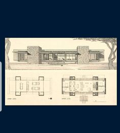 Architecture Old, Architecture Drawings, Residential Architecture, Usonian House, Vintage House Plans, Modern Mansion, Facade House, Mid Century House, House Floor Plans
