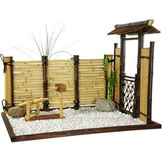 Zen Bamboo Mini Garden (£120) ❤ liked on Polyvore featuring home, outdoors, chinese, decor, garden and oggetti vari