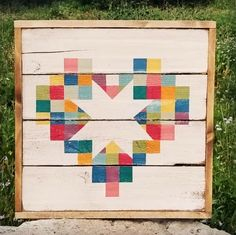 Image of Framed Over Pieces of My Heart Barn Quilt Barn Quilt Patterns, Barn Quilt Designs, Quilting Designs, Heart Quilt Pattern, Painted Barn Quilts, Barn Wood Signs, Barn Art, Quilted Wall Hangings, Small Quilts