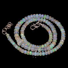 "63CRTS 4.5to6.5MM 18"" ETHIOPIAN OPAL FACETED RONDELLE BEADS NECKLACE OBI2120 #OPALBEADSINDIA"