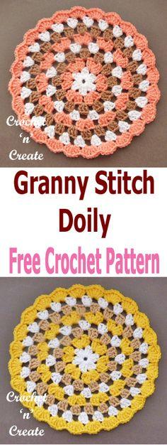 A FREE crochet granny doily pattern. #crochetncreate #crochet #crochetdoilypattern