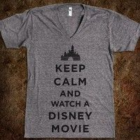 Keep Calm And Watch A Disney Movie (V Neck) - Fun Movie Shirts - Skreened T-shirts, Organic Shirts, Hoodies, Kids Tees, Baby One-Pieces and Tote Bags