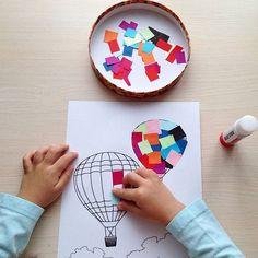 Что ни говорите, а поделки за пару минут - вещь незаменимая. Спасибо за идею Малике @lovekeed Просто приготовьте ✅цветную бумагу ✅ножницы ✅клей ✅любой рисунок из раскраски Распечатайте любое изображение предмета: в нашем случае - это воздушный шар. Можно из раскраски взять. Это будет основа, на которую мы будем клеить бумажки. Нарезаем цветную бумагу на небольшие куски. Если ребёнок умеет резать сам - получите ✂ ему. Если еще не умеет сам, можно рвать бумагу на мелкие кусочки Покажит...