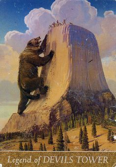Devils Tower, Wyoming.....If I remember correctly, legend is that a huge grizzly bear chased a band of Indians & trapped them at the top of Devils Tower. In trying to reach them, the bear dug huge gouges into the mountainside, thus its appearance today.