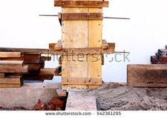 Concrete Beam and Wooden Column Box, House Construction Site, Laos, Toned Photo