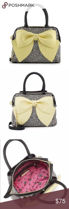 "Betsey Johnson Ready Set Bow Flirty Bow Satchel New & 💯 % Authentic!! Betsey Johnson Ready Set Bow Flirty Bow Satchel. Women's Bag 👜 Double Top Handles. 5"" Drop. Removable Shoulder Strap - 23"" Drop. Top Zip Closure. One outside magnetic snap pocket. One inside zip pocket. Super Pretty 👜🔥 Betsey Johnson Bags Satchels"