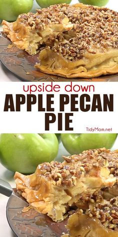 UPSIDE-DOWN APPLE PECAN PIE is a self-glazing, award-winning pie that is sure to please any crowd. If you like pecan pie and apple pie, you're going to want this apple pie recipe!  Print the full recipe + watch short recipe video at TidyMom.net