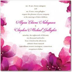 Vivid Blooms Fuschia Wedding Invitation