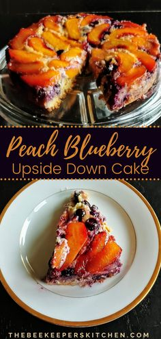 Peach Blueberry Upside-Down Cake is a fruity taste of summer with ripe peaches and plump blueberries nestled in a layered cheesecake and soft vanilla cake. #peachrecipes #blueberryrecipes #summerdesserts #beekeeperskitchen