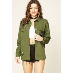Forever21 Patched Cargo Jacket (1,600 INR) ❤ liked on Polyvore featuring outerwear, jackets, cargo jacket, cotton jacket, collar jacket, green cargo jacket and long sleeve jacket