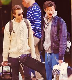 Arthur Darvill & Matt Smith. I feel like these are theyre expressions while they are Rory and the Doctor also...lol