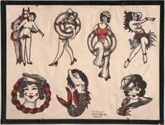 1930's Vintage Percy Waters Tattoo Flash Series A 7 by NavyRays, $24.99