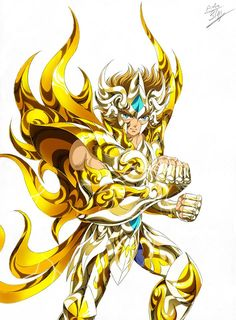 Gold Saint Leo Aioria with Divine Cloth, Artwork by Spaceweaver. Saint Seiya: Soul of Gold