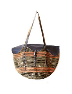 Vintage cuero bolso tejido textil nativa de cuchara