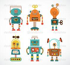 Conjunto de ícones de robô vintage — Ilustração de Stock #31177429