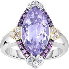 Phillip Gavriel - 18K Yellow Gold & Silver Ring w/ Rhodolite Garnet, Pink Amethyst & White Synthetic Sapphire