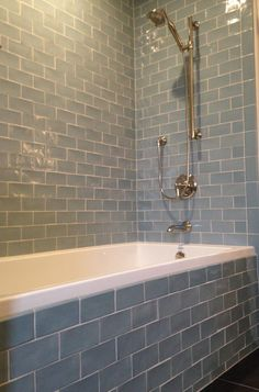 Daltile Subway Tile And Bathtub With Bathroom Fixture For Modern Bathroom Design - KitapU shared and photos Bath Tiles, Bathroom Floor Tiles, Bathroom Fixtures, Bathroom Tubs, Bathroom Showers, Tile Around Bathtub, Guys Bathroom, Tiled Bathrooms, Bathroom Remodeling