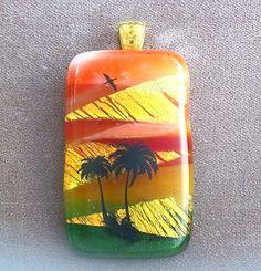 Dichroic Fused Glass Pendant Desert Palm Trees US Art #2851 Lolas Glass Pendants #LolasGlassPendants #PendantforNecklace