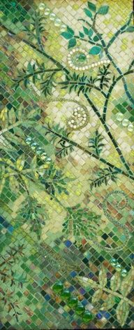 Mosaic in greens, forest, leaves