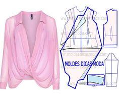 Faça a leitura da transformação do molde de blusa trespasse rosa com rigor antes de iniciar qualquer outro processo. Imprima o molde base de blusa e faça a gradação para o seu tamanho. Depois de obter