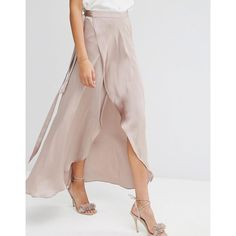 ASOS Maxi Wrap Skirt in Satin ($51) ❤ liked on Polyvore featuring skirts, long skirts, brown skirt, brown maxi skirt, high waist long maxi skirt and long maxi skirts