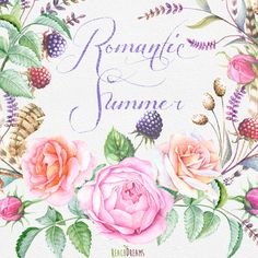 Watercolor Bouquets, hand painted clipart, roses, feathers, berries, floral wedding invite, greeting card, diy clip art, romantic summer