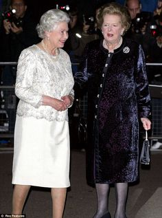 (R-L) Margaret Thatcher and Queen Elizabeth II at Mrs. Thatchers 80th birthday party in London in 2005. Margaret Thatcher died this morning aged 87 after stroke, 8 April 2013
