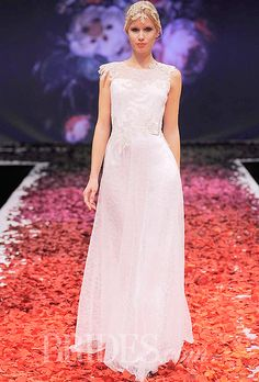 """Brides.com: Claire Pettibone - Fall 2014. """"Gossamer"""" line art sequin pearl silk and spun silver A-line wedding dress with embroidered bodice and sheer back, Claire Pettibone"""
