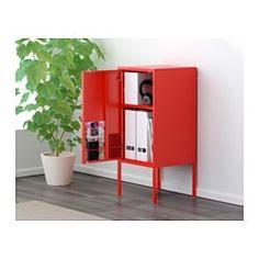 IKEA - LIXHULT, Armario, metal/rojo, , Para guardar objetos pequeños como cargadores, llaves, la cartera o cosas más grandes como bolsos o juguetes. Depende del tamaño que elijas de los 3 armarios que te ofrecemos.Organiza los documentos importantes, cartas y periódicos y clasifícalos en la puerta del armario.Puedes montar la puerta a la derecha o a la izquierda, como más te convenga.
