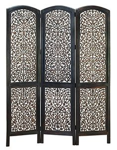 wood 3 panel screen decently carved with leaf design by benzara