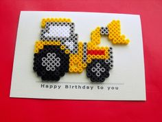 Hama beads Digger by Wepo Designs. Hadn't thought about using melting beads to decorate a card. Perler Bead Designs, Hama Beads Design, Diy Perler Beads, Perler Bead Art, Pearler Beads, Fuse Beads, Fuse Bead Patterns, Perler Patterns, Beading Patterns
