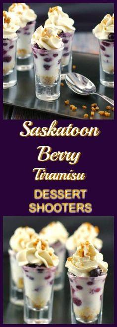 Saskatoon Berry (Juneberry) Tiramisu Dessert Shooter – Saskatoon Berry (Juneberry) Tiramisu Dessert ShooterIf you are not familiar with this little gem of a berry, t Mini Desserts, Brownie Desserts, Finger Desserts, Potluck Desserts, Chocolate Cheesecake, Healthy Dessert Recipes, Easy Desserts, Delicious Desserts, Chocolate Pudding