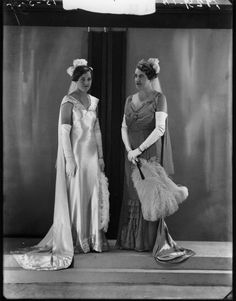 Lady Olive Hambling, nee Carter, wearing a delicate diamond tiara, with daughter Molly, 1934