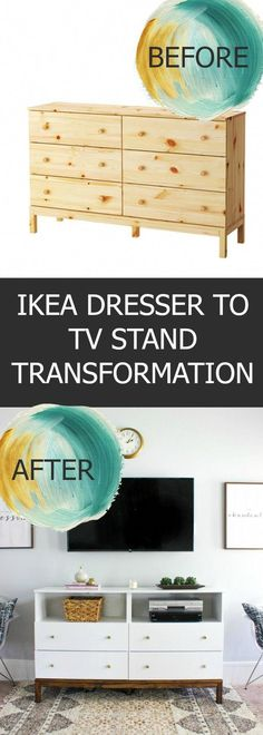 DIY Furniture This IKEA Dresser to TV Stand Transformation combines storage of a dresser with the visual appeal of a tv console. This is a great and easy IKEA hack! Billy Regal Ikea, Ikea Regal, Ikea Kallax Regal, Ikea Stand, Diy Tv Stand, Tv Stand Hack, Ikea Malm, Tarva Ikea, Ikea Dresser Hack