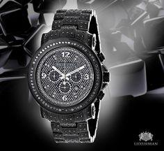 Fully Iced Out Black Diamond Mens Watch by Luxurman 4.25ct Oversized #diamondwatch #watchformen #ItsHotjewelry