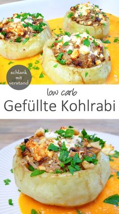 Gefüllte Kohlrabi low carb low carb stuffed kohlrabi recipe for a delicious lunch or dinner. Perfect for losing weight as part of a healthy low carb / lchf / keto diet Abendessen Rezepte Fruit Smoothie Recipes, Healthy Breakfast Smoothies, Dessert Recipes, Protein Smoothies, Strawberry Smoothie, Low Calorie Recipes, Keto Recipes, Healthy Recipes, Snacks Recipes