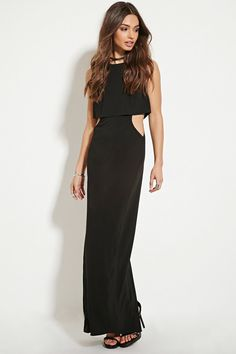 A sleeveless woven maxi dress featuring cutout sides underneath a split-back layer with an invisible back zipper.