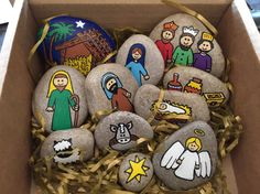 A set of Nativity story stones hand painted on beach pebbles. The stones contain all the images needed to tell the story of the nativity. Using their imagination, children can use the stones as prompts to tell their own story. They can also be used as a game/puzzle where children