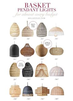 16 Basket Pendant Lights to Fit Any Style: Trending! Boho Lighting, Basket Lighting, Pendant Lighting Bedroom, Dining Room Light Fixtures, Kitchen Lighting Fixtures, Kitchen Pendant Lighting, Dining Room Lighting, Pendant Lights, Coastal Light Fixtures