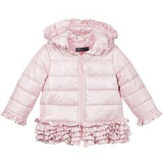 Baby girls cute pink jacket by <span>Miss Blumarine, made with a silky smooth polyester. It has a silky lining with light padding and a full length zip. In a puffer style, the hood hem and cuffs have pretty ruffled trims.<br /></span> <ul> <li>100% polyester (smooth silky feel)</li> <li>Lined with light padding</li> <li>Machine wash (30*C)</li> <li>Hooded</li> <li>Designer colour: Candy pink</li> <li>Zip fastener</li> <li>Made in Italy</li> </ul>
