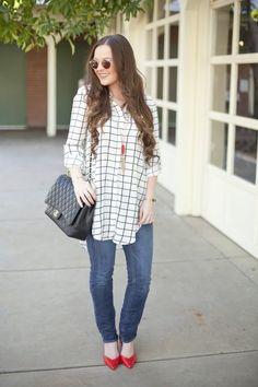 Red-Fashion-Style-Fashion Blogger-Style Blog-Fall Fashion-Chanel-Hair Ideas-Hair Inspiration-Outfit Ideas-Outfit inspiration-Windowpane-Print-Jeans-J.Crew-Kendra Scott