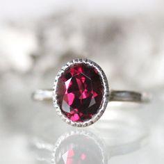 Rhodolite Garnet Sterling Silver Ring / Gemstone Ring / Milgrain Detials In No Nickel / Nickel Free  - Made To Order by louisagallery on Etsy